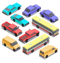 set of isometric urban transportation cars vector image