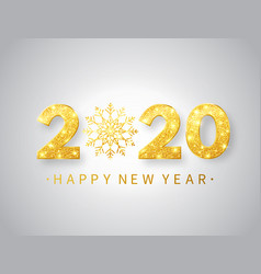 2020 happy new year background with glitter golden vector