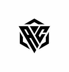 Ac logo monogram with triangle and hexagon modern vector