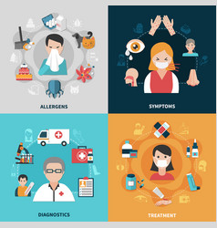 Allergy 2x2 icons set vector
