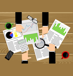 analysis data chart and diagram team work business vector image