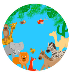 animal zoo on a blue background vector image
