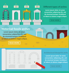 Arches types banner horizontal set flat style vector