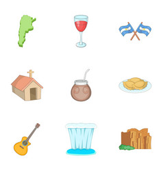 Attraction argentina icons set cartoon style vector