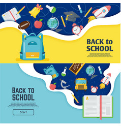 Back to school banner classroom bright poster vector