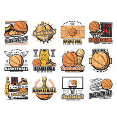 basketball sport club streetball team badges vector image