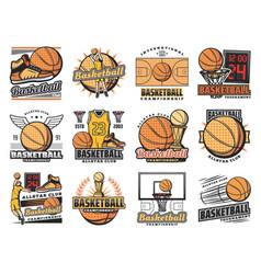 Basketball sport club streetball team badges vector