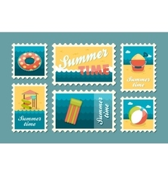 Beach entertainment stamp set Summer Vacation vector image