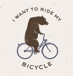 Bear on bicycle vector