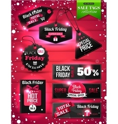 Black friday sale paper tags labels and banners vector