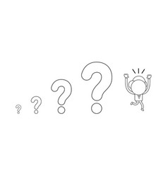 Businessman character running away from question vector