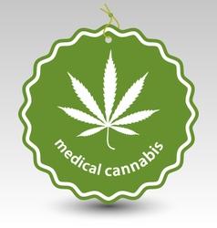 Cannabis marijuana leaf stamp tag label vector