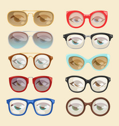Cartoon glasses face eyes cartoon eyeglass vector