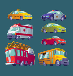 cartoon set isolated icons urban transport vector image