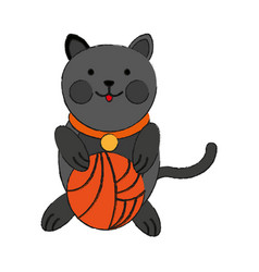 Cat playing with ball of yarn cartoon pet animal vector