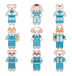Childrens animals ornament kid cute pet vector