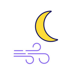 Clear windy night color icon vector