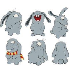 Clipart blue rabbits vector