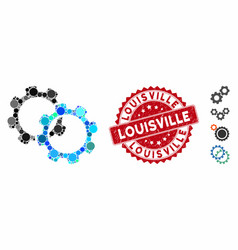 Collage gears icon with textured louisville stamp vector