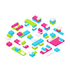 collection isometric colorful plastic vector image