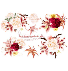 collection of realistic flowers roses and lilies vector image
