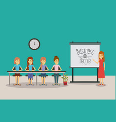 Color background women group sitting in a desk for vector