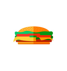 color burger in flat style vector image