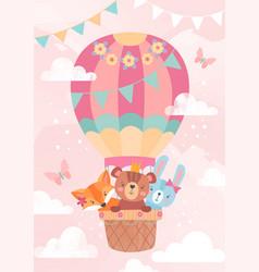 cute little cartoon animals in a hot air balloon vector image