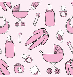 Cute seamless pattern with children things vector