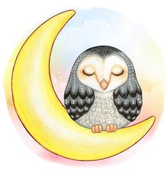Cute watercolor barn owl sleeping on moon vector
