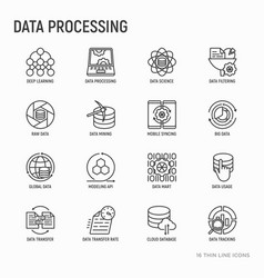 Data processing thin line icons set vector