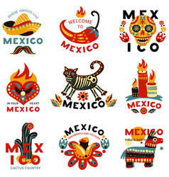 dead day mexico icons set vector image