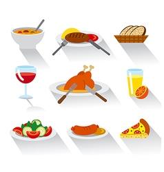 Dinner icon set vector