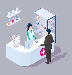 doctor pharmacist and customer in pharmacy store vector image
