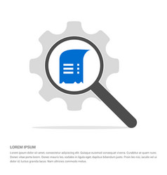 document icon search glass with gear symbol icon vector image