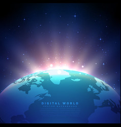 Earth background with glowing light vector