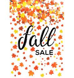Fall sale vertical lettering banner design vector