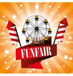 Ferris wheel festival funfair fireworks vector