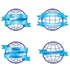 festive ribbons merry christmas around the globe vector image