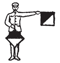 flag signal for letter f or number 6 vector image
