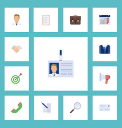 Flat icons contract costume employee and other vector