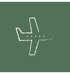 Flying airplane icon drawn in chalk vector