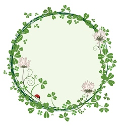 frame with flowers of clover vector image