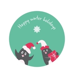 Funny winter holidays card with penguin Elf Santa vector