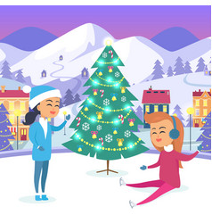 girl in snow-maiden suit and teen on icerink vector image