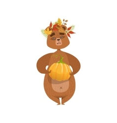 Girly Cartoon Brown Bear Character Holding Pumpkin vector image