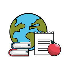 Global planet with books notebook papper and vector