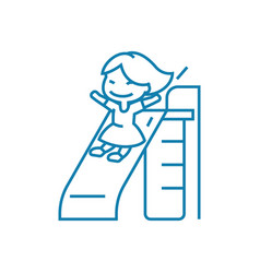 going down the slide linear icon concept going vector image