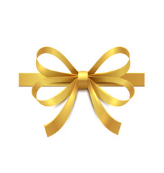 golden bow with ribbon realistic gift box vector image