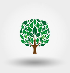 green tree icon flat vector image